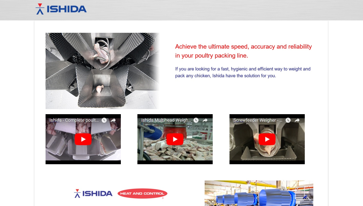 Special website for poultry packaging line